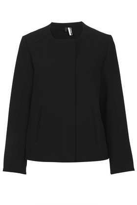 Premium Crepe Bomber - pattern: plain; style: single breasted blazer; collar: round collar/collarless; predominant colour: black; occasions: casual, evening, work, occasion; length: standard; fit: straight cut (boxy); fibres: polyester/polyamide - 100%; sleeve length: long sleeve; sleeve style: standard; texture group: crepes; collar break: high; pattern type: fabric; season: s/s 2013