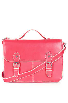 Edge Paint Satchel - secondary colour: white; predominant colour: pink; occasions: casual, work; style: satchel; length: across body/long; size: standard; material: faux leather; pattern: plain; finish: plain; embellishment: buckles; season: s/s 2013