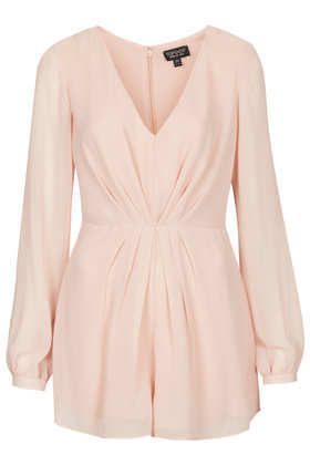 Pleat Front Playsuit - neckline: low v-neck; fit: fitted at waist; pattern: plain; sleeve style: balloon; length: short shorts; predominant colour: nude; occasions: casual, evening; fibres: polyester/polyamide - 100%; sleeve length: long sleeve; texture group: crepes; style: playsuit; pattern type: fabric; season: s/s 2013