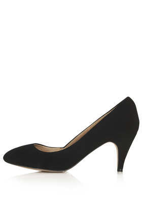 Maple Mid Heel Court - predominant colour: black; occasions: evening, work, occasion; material: suede; heel height: mid; heel: stiletto; toe: round toe; style: courts; finish: plain; pattern: plain; trends: 1940's hitchcock heroines; season: s/s 2013