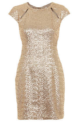Sequin Cutout Mini Dress - style: shift; length: mini; sleeve style: capped; fit: tailored/fitted; pattern: plain; predominant colour: champagne; occasions: evening, occasion; fibres: nylon - 100%; neckline: crew; back detail: keyhole/peephole detail at back; sleeve length: sleeveless; pattern type: fabric; texture group: other - light to midweight; embellishment: sequins; season: s/s 2013; wardrobe: event; embellishment location: all over