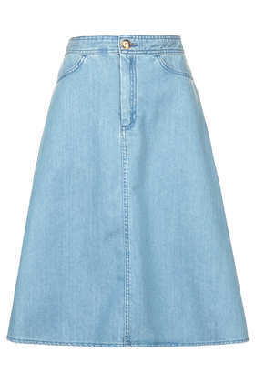 Moto Vintage Denim Midi Skirt - pattern: plain; fit: loose/voluminous; waist: high rise; predominant colour: denim; occasions: casual; length: on the knee; style: a-line; fibres: cotton - 100%; texture group: denim; pattern type: fabric; season: s/s 2013