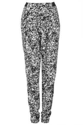 Tall Scribble Tapered Trousers - length: standard; waist detail: elasticated waist; style: peg leg; waist: high rise; pocket detail: pockets at the sides; secondary colour: white; predominant colour: black; occasions: casual; fibres: polyester/polyamide - 100%; texture group: crepes; fit: tapered; pattern type: fabric; pattern: patterned/print; season: s/s 2013; trends: monochrome; pattern size: standard (bottom)