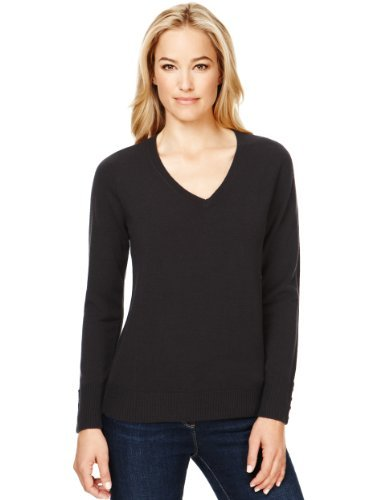 M&S Collection Cashmilon™ V Neck Jumper - neckline: v-neck; pattern: plain; style: standard; predominant colour: black; occasions: casual, work; length: standard; fibres: acrylic - 100%; fit: standard fit; sleeve length: long sleeve; sleeve style: standard; texture group: knits/crochet; pattern type: knitted - fine stitch; season: s/s 2013