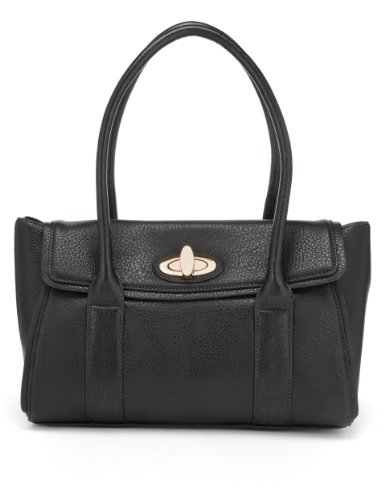 M&S Collection Twistlock Handbag - predominant colour: black; occasions: casual, work; style: tote; length: handle; size: standard; material: faux leather; pattern: plain; finish: plain; season: s/s 2013