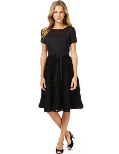 M&S Collection Rose Skater Belted Dress - neckline: slash/boat neckline; pattern: plain; waist detail: belted waist/tie at waist/drawstring; predominant colour: black; occasions: evening, occasion; length: on the knee; fit: fitted at waist & bust; style: fit & flare; fibres: polyester/polyamide - stretch; sleeve length: short sleeve; sleeve style: standard; pattern type: fabric; texture group: other - light to midweight; trends: 1940's hitchcock heroines; season: s/s 2013