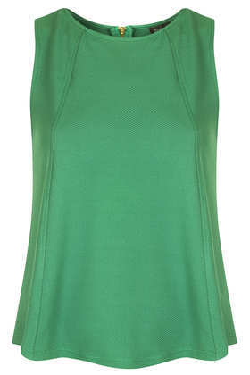 Zip Shell Top - pattern: plain; sleeve style: sleeveless; predominant colour: emerald green; occasions: casual; length: standard; style: top; fibres: polyester/polyamide - stretch; fit: loose; neckline: crew; sleeve length: sleeveless; pattern type: fabric; texture group: other - light to midweight; season: s/s 2013