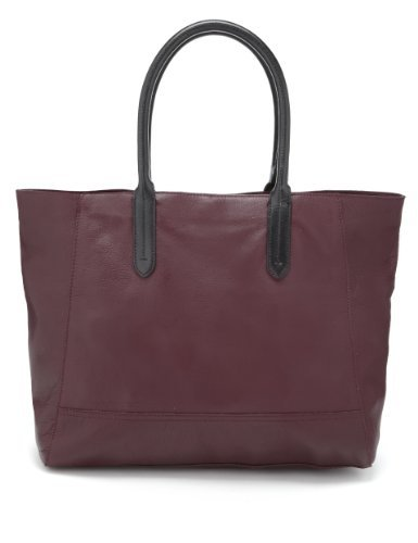 Autograph Leather Contrast Handle Shopper Bag - predominant colour: burgundy; secondary colour: black; occasions: casual, work; style: tote; length: shoulder (tucks under arm); size: standard; material: leather; pattern: plain; finish: plain; season: s/s 2013