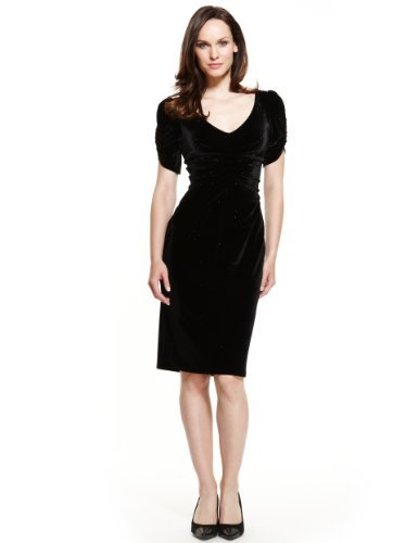 M&S Collection Sparkle Ruched Front Pleat Velour Dress - style: shift; neckline: low v-neck; pattern: plain; waist detail: flattering waist detail; predominant colour: black; occasions: evening, occasion; length: just above the knee; fit: body skimming; fibres: polyester/polyamide - stretch; sleeve length: short sleeve; sleeve style: standard; pattern type: fabric; texture group: velvet/fabrics with pile; embellishment: glitter; season: s/s 2013; wardrobe: event; embellishment location: all over