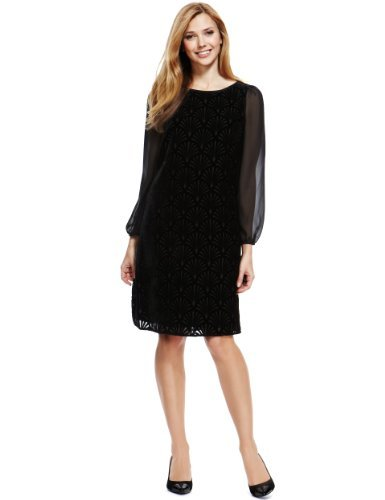 M&S Collection Slash Neck Devoré Tunic Dress - style: tunic; neckline: slash/boat neckline; fit: loose; pattern: plain; predominant colour: black; occasions: evening, occasion; length: just above the knee; fibres: polyester/polyamide - 100%; sleeve length: long sleeve; sleeve style: standard; pattern type: fabric; texture group: velvet/fabrics with pile; trends: gothic romance; season: s/s 2013