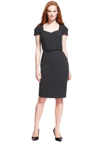 M&S Collection V Neck Panelled Crêpe Shift Dress With Bow Belt - style: shift; sleeve style: capped; fit: tailored/fitted; pattern: plain; neckline: sweetheart; waist detail: belted waist/tie at waist/drawstring; predominant colour: black; occasions: evening, work; length: on the knee; fibres: polyester/polyamide - stretch; sleeve length: short sleeve; texture group: crepes; pattern type: fabric; season: s/s 2013