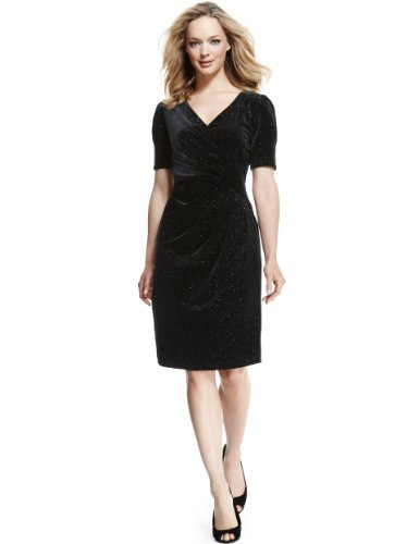 M&S Collection Pleated Sparkle Wrap Dress - style: faux wrap/wrap; neckline: low v-neck; pattern: plain; waist detail: twist front waist detail/nipped in at waist on one side/soft pleats/draping/ruching/gathering waist detail; bust detail: ruching/gathering/draping/layers/pintuck pleats at bust; secondary colour: gold; predominant colour: black; occasions: evening, occasion; length: on the knee; fit: body skimming; fibres: polyester/polyamide - stretch; hip detail: soft pleats at hip/draping at hip/flared at hip; sleeve length: half sleeve; sleeve style: standard; pattern type: fabric; texture group: velvet/fabrics with pile; embellishment: crystals/glass; trends: gothic romance; season: s/s 2013