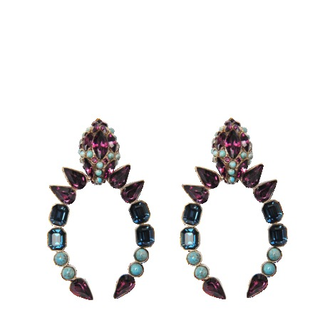 Snake Stones Earrings - secondary colour: royal blue; occasions: evening, occasion; style: drop; length: long; size: large/oversized; material: chain/metal; fastening: pierced; finish: metallic; embellishment: jewels/stone; predominant colour: dusky pink; trends: excess embellishment; season: s/s 2013
