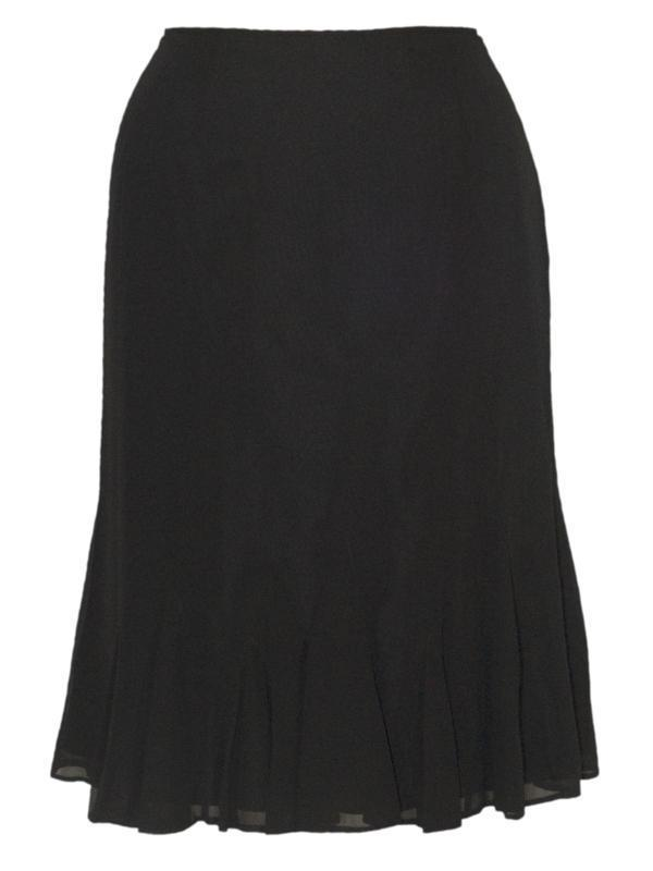 Black Chiffon Godet Skirt Size 14 & 24 Only - pattern: plain; fit: loose/voluminous; waist: mid/regular rise; predominant colour: black; occasions: casual, evening, work; length: on the knee; style: fit & flare; fibres: polyester/polyamide - 100%; hip detail: subtle/flattering hip detail; texture group: sheer fabrics/chiffon/organza etc.; pattern type: fabric; season: s/s 2013