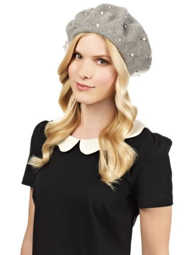M&S Collection Pure Wool Pearl Beret Hat - predominant colour: light grey; occasions: casual; embellishment: pearls; style: beret; size: standard; material: knits; pattern: plain; season: s/s 2013