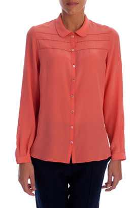 Coral Silk Ladder Stitch Blouse - neckline: shirt collar/peter pan/zip with opening; pattern: plain; style: blouse; predominant colour: coral; occasions: casual, evening, work; length: standard; fibres: silk - 100%; fit: body skimming; sleeve length: long sleeve; sleeve style: standard; texture group: silky - light; pattern type: fabric; season: s/s 2013