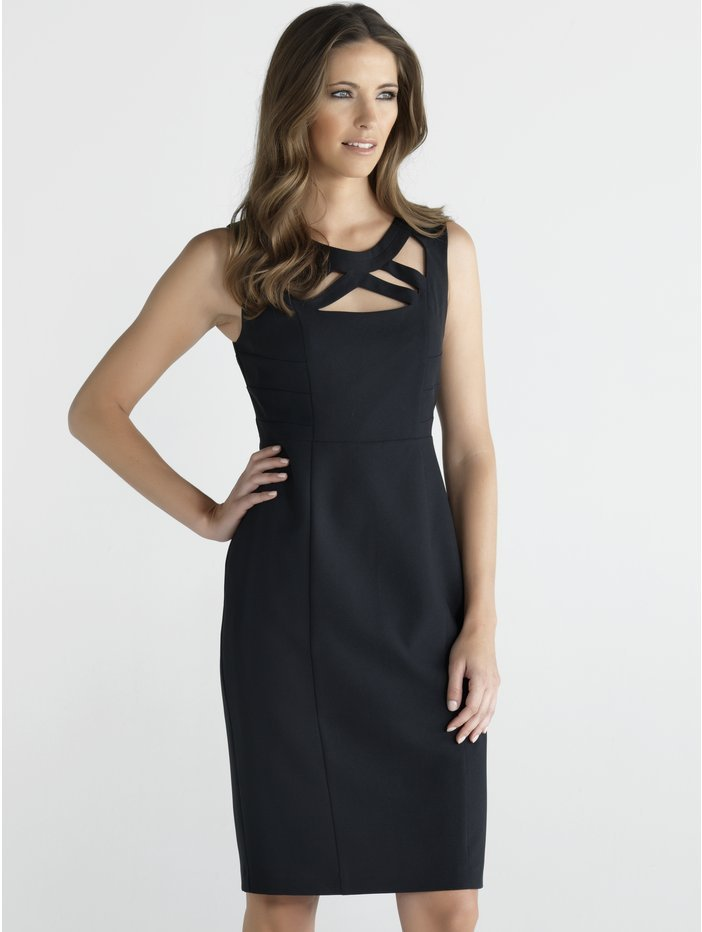 Women's Bodycon Cut Out Ponte Fabric Evening Shift Dress - style: shift; neckline: round neck; fit: tailored/fitted; pattern: plain; sleeve style: sleeveless; predominant colour: black; occasions: evening, occasion; length: just above the knee; fibres: polyester/polyamide - 100%; sleeve length: sleeveless; texture group: woven light midweight; trends: 1940's hitchcock heroines; season: s/s 2013