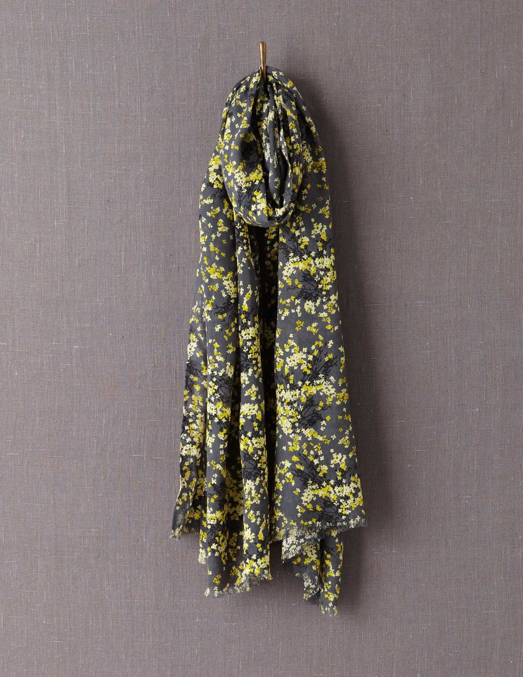 Printed Scarf - predominant colour: primrose yellow; secondary colour: charcoal; occasions: casual; type of pattern: heavy; style: regular; size: large; material: fabric; pattern: florals; season: a/w 2013