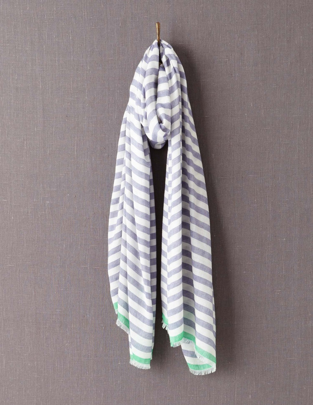 Printed Scarf - secondary colour: ivory/cream; predominant colour: navy; occasions: casual; type of pattern: standard; style: regular; size: large; material: fabric; pattern: horizontal stripes; season: a/w 2013