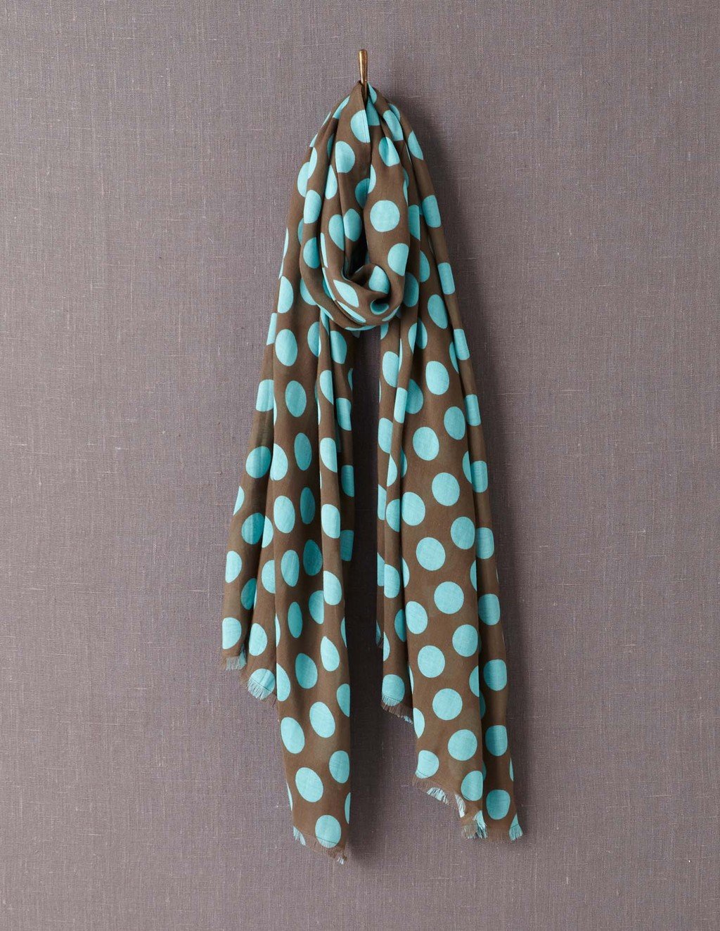 Printed Scarf - secondary colour: turquoise; predominant colour: khaki; occasions: casual; type of pattern: standard; style: regular; size: large; material: fabric; pattern: polka dot; season: a/w 2013