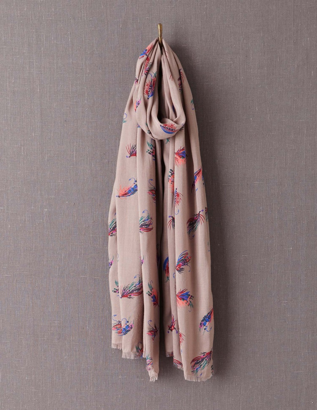 Printed Scarf - secondary colour: royal blue; predominant colour: nude; occasions: casual; type of pattern: standard; style: regular; size: large; material: fabric; pattern: patterned/print; season: a/w 2013
