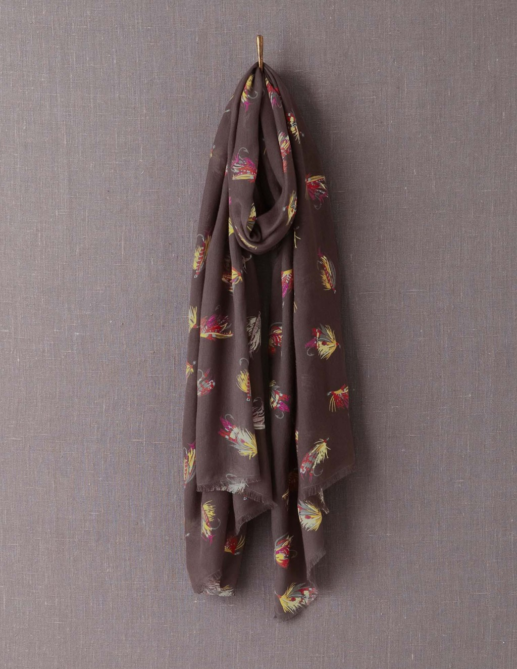 Printed Scarf - secondary colour: magenta; predominant colour: chocolate brown; occasions: casual; type of pattern: standard; style: regular; size: large; material: fabric; pattern: patterned/print; season: a/w 2013