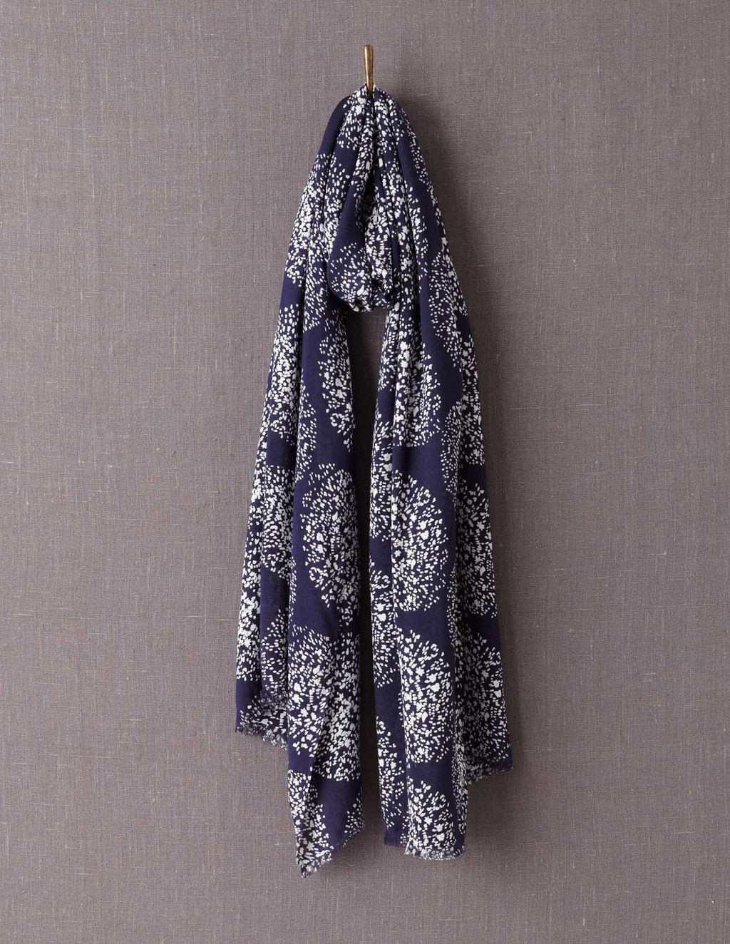 Printed Scarf - secondary colour: white; predominant colour: navy; occasions: casual; type of pattern: heavy; style: regular; size: large; material: fabric; pattern: florals; season: a/w 2013