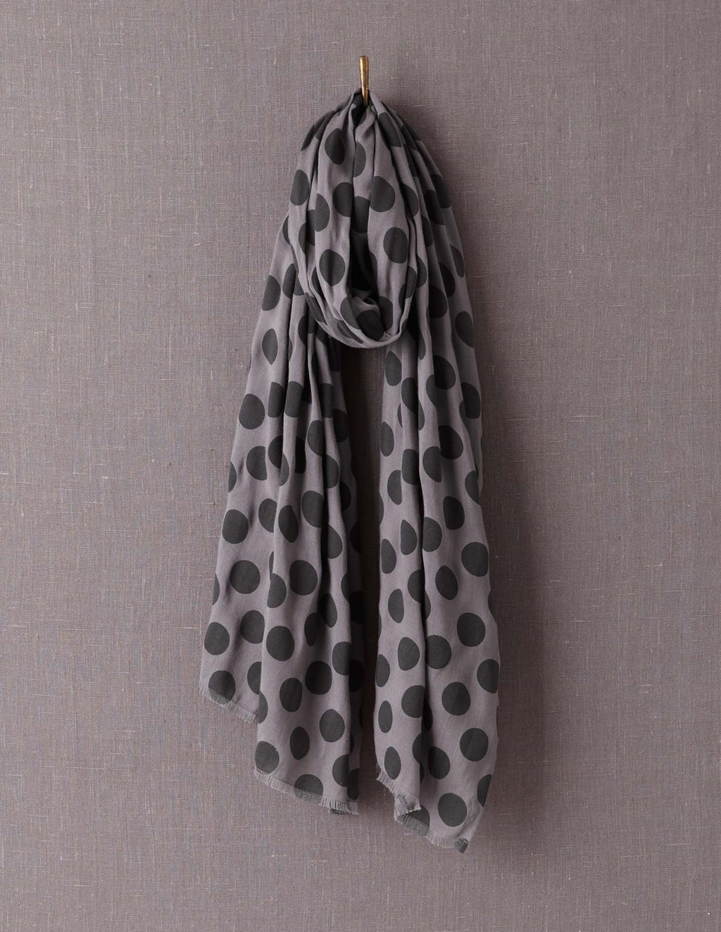 Printed Scarf - secondary colour: charcoal; predominant colour: mid grey; occasions: casual; type of pattern: standard; style: regular; size: large; material: fabric; pattern: polka dot; season: a/w 2013