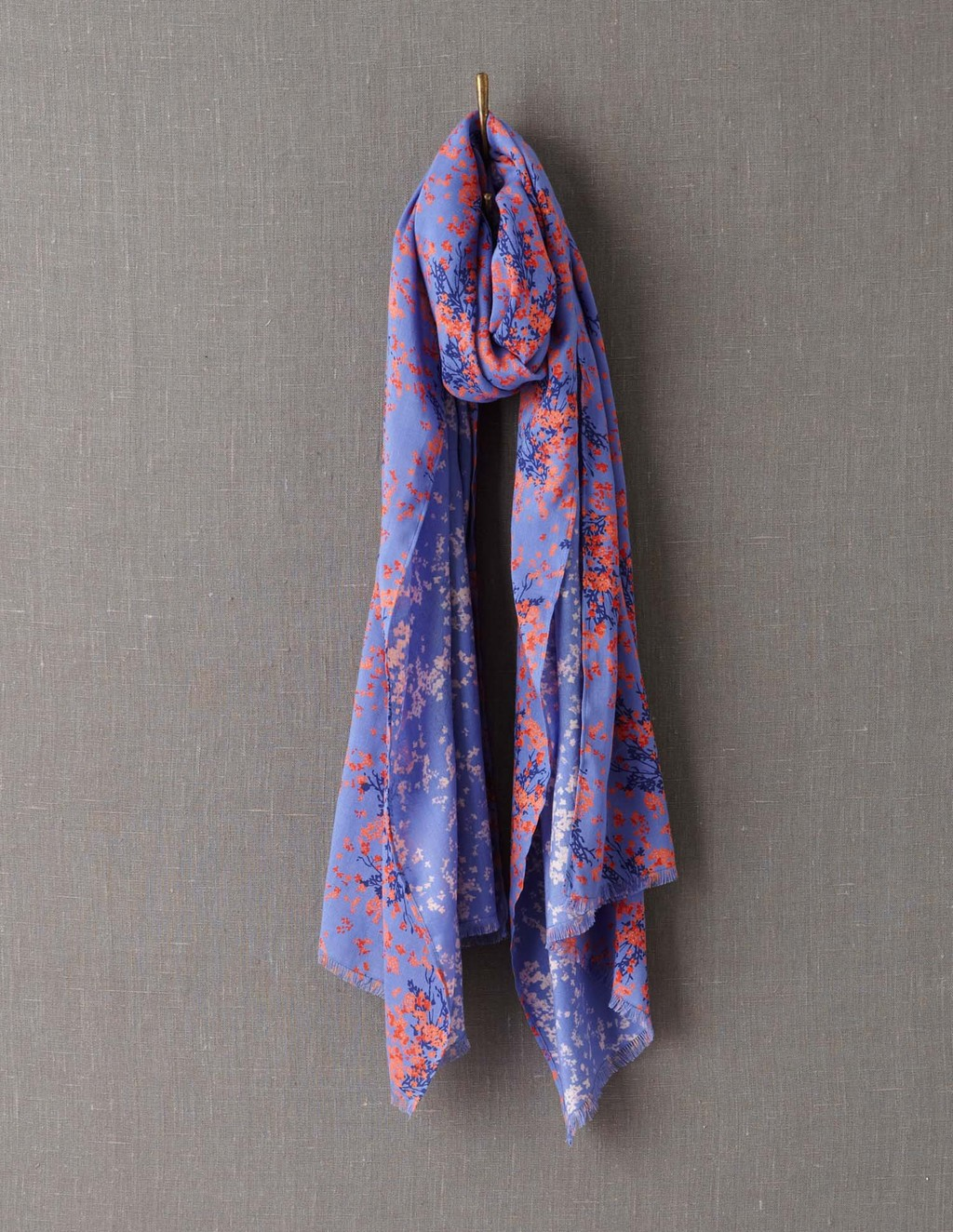 Printed Scarf - predominant colour: lilac; secondary colour: coral; occasions: casual; type of pattern: standard; style: regular; size: large; material: fabric; pattern: florals; season: a/w 2013