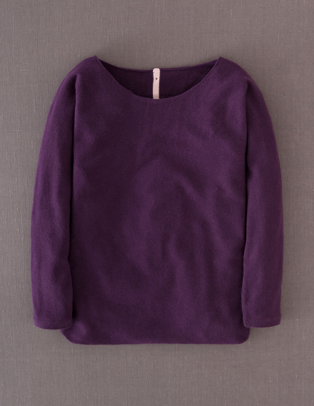 Cashmere Button Back Jumper - neckline: round neck; pattern: plain; style: standard; predominant colour: aubergine; occasions: casual; length: standard; fit: standard fit; fibres: cashmere - 100%; sleeve length: long sleeve; sleeve style: standard; texture group: knits/crochet; pattern type: knitted - fine stitch; pattern size: standard; season: a/w 2013