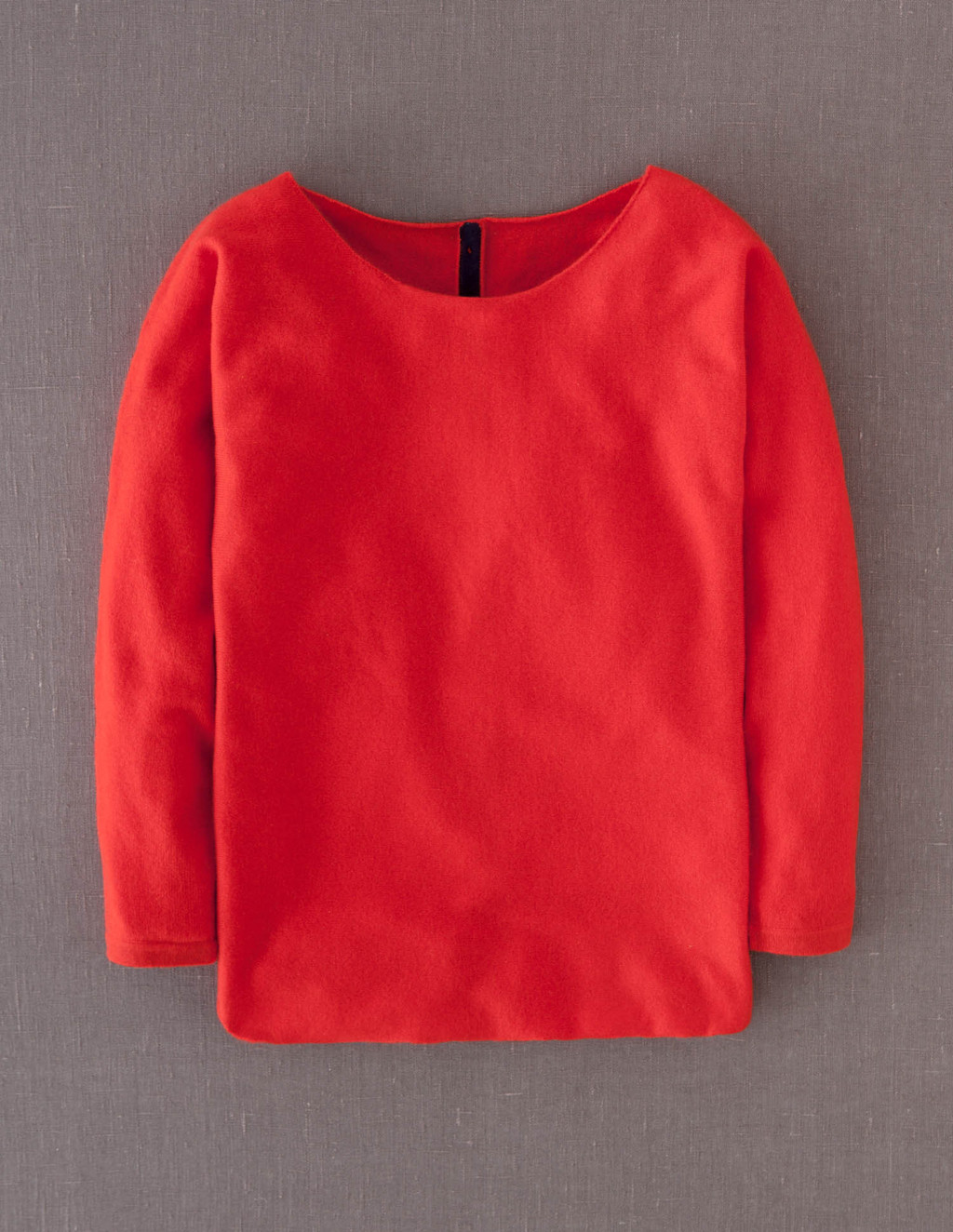 Cashmere Button Back Jumper - neckline: round neck; pattern: plain; style: standard; predominant colour: true red; occasions: casual; length: standard; fit: standard fit; fibres: cashmere - 100%; sleeve length: long sleeve; sleeve style: standard; texture group: knits/crochet; pattern type: knitted - fine stitch; pattern size: standard; trends: boden brights; season: a/w 2013