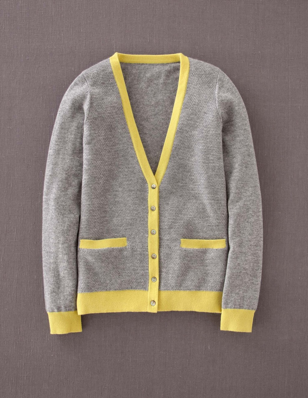 Cashmere Waffle Cardigan - neckline: low v-neck; pattern: plain; secondary colour: yellow; predominant colour: mid grey; occasions: casual, work; length: standard; style: standard; fit: standard fit; fibres: cashmere - 100%; sleeve length: long sleeve; sleeve style: standard; texture group: knits/crochet; pattern type: knitted - fine stitch; trends: boden colour blocking; season: a/w 2013