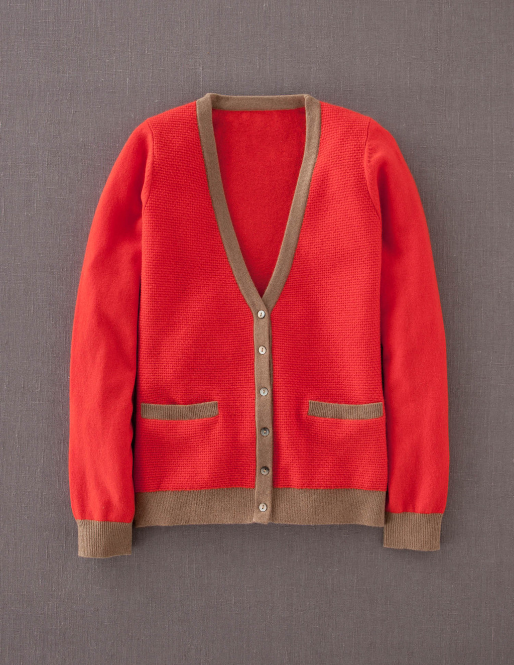 Cashmere Waffle Cardigan - neckline: low v-neck; predominant colour: coral; secondary colour: taupe; occasions: casual; length: standard; style: standard; fit: standard fit; fibres: cashmere - 100%; sleeve length: long sleeve; sleeve style: standard; texture group: knits/crochet; pattern type: knitted - fine stitch; pattern size: light/subtle; pattern: colourblock; season: a/w 2013
