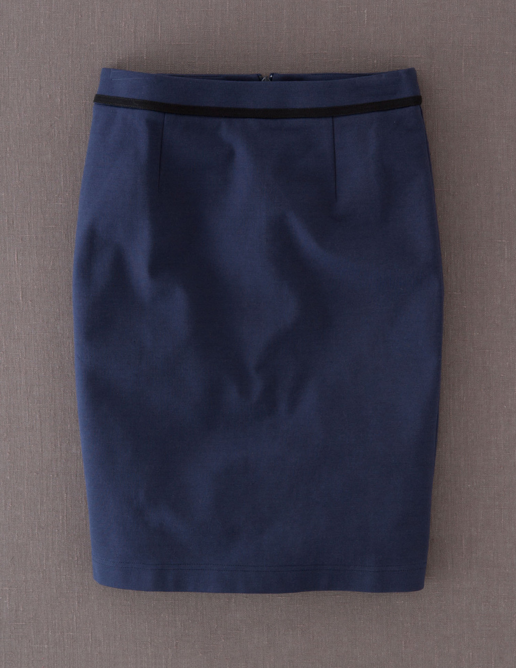 Breadwinner Skirt - pattern: plain; style: pencil; fit: tailored/fitted; waist: mid/regular rise; predominant colour: navy; secondary colour: black; occasions: casual, work; length: just above the knee; fibres: cotton - stretch; texture group: cotton feel fabrics; pattern type: fabric; season: a/w 2013