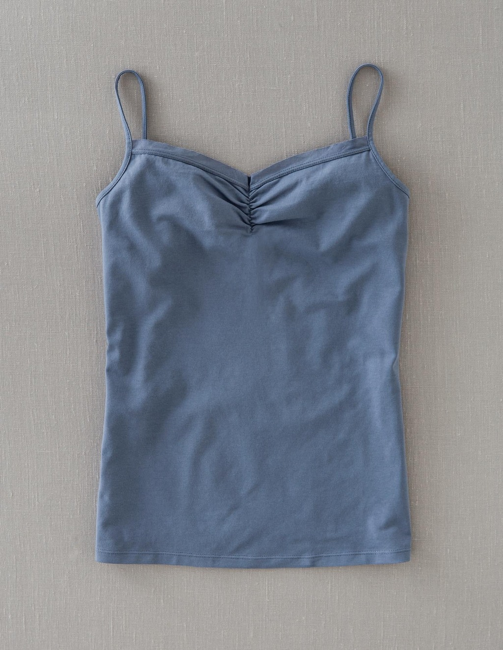 Gathered Cami - sleeve style: spaghetti straps; pattern: plain; style: camisole; neckline: sweetheart; bust detail: subtle bust detail; predominant colour: denim; occasions: casual; length: standard; fibres: cotton - stretch; fit: tight; sleeve length: sleeveless; texture group: jersey - clingy; pattern type: fabric; season: a/w 2013; wardrobe: highlight