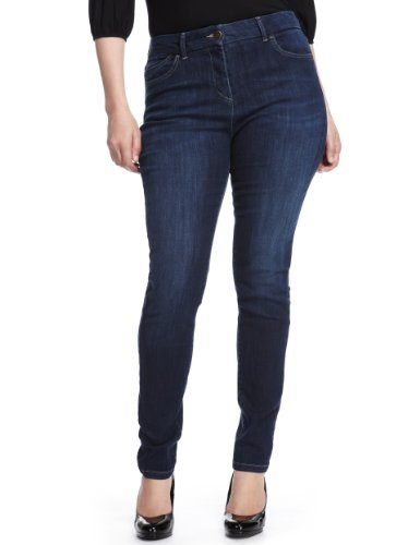 Plus 5 Pocket Denim Jeggings - length: standard; pattern: plain; waist: high rise; style: jeggings; pocket detail: traditional 5 pocket; predominant colour: royal blue; occasions: casual; fibres: cotton - stretch; jeans detail: dark wash; texture group: denim; pattern type: fabric; season: s/s 2013