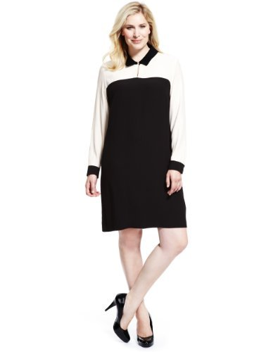 Plus Contrast Collar Tunic Dress - style: shirt; fit: loose; shoulder detail: contrast pattern/fabric at shoulder; secondary colour: white; predominant colour: black; occasions: casual, work; length: just above the knee; fibres: viscose/rayon - stretch; neckline: no opening/shirt collar/peter pan; sleeve length: long sleeve; sleeve style: standard; pattern type: fabric; pattern size: light/subtle; pattern: colourblock; texture group: other - light to midweight; season: s/s 2013