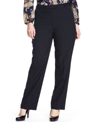Plus Flat Front Slim Leg Trousers - length: standard; pattern: plain; waist: high rise; predominant colour: navy; occasions: casual, evening, work; fibres: polyester/polyamide - stretch; fit: slim leg; pattern type: fabric; texture group: other - light to midweight; style: standard; season: s/s 2013