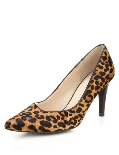 Autograph Leather Asymmetric Court Shoes With Insolia® - predominant colour: tan; secondary colour: black; occasions: evening, work, occasion; material: suede; heel height: high; heel: stiletto; toe: pointed toe; style: courts; finish: plain; pattern: animal print; season: s/s 2013