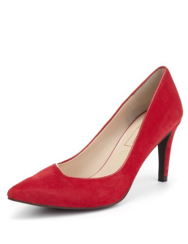 Autograph Suede Asymmetric Court Shoes With Insolia® - predominant colour: true red; occasions: evening, work, occasion; material: suede; heel height: high; heel: stiletto; toe: pointed toe; style: courts; finish: plain; pattern: plain; season: s/s 2013