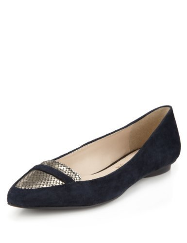 Autograph Suede Water Resistant Loafer Pumps With Insolia Flex® - predominant colour: navy; secondary colour: silver; occasions: casual, evening, work; material: suede; heel height: flat; toe: pointed toe; style: loafers; finish: plain; pattern: plain; season: s/s 2013