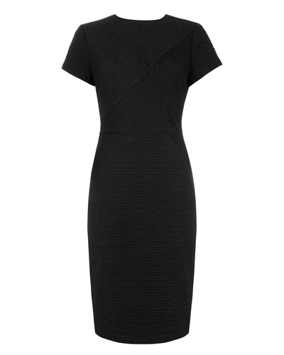 Ted Baker Nedeli Textured Bodycon Dress - fit: tight; pattern: plain; style: bodycon; predominant colour: black; occasions: evening, work, occasion, creative work; length: just above the knee; fibres: polyester/polyamide - stretch; neckline: crew; sleeve length: short sleeve; sleeve style: standard; pattern type: fabric; texture group: jersey - stretchy/drapey; season: s/s 2014