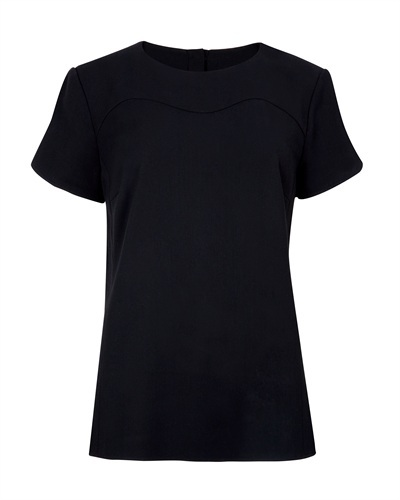 Ted Baker Armoi Sweetheart Seam Top - pattern: plain; style: t-shirt; predominant colour: black; occasions: casual, work, creative work; length: standard; fibres: polyester/polyamide - 100%; fit: body skimming; neckline: crew; sleeve length: short sleeve; sleeve style: standard; pattern type: fabric; texture group: other - light to midweight; season: s/s 2013