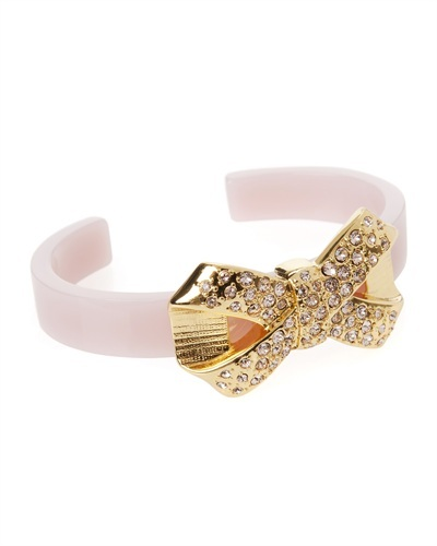 Ted Baker Briar Pave Bow Cuff - predominant colour: blush; secondary colour: gold; occasions: casual, evening, occasion; style: cuff; size: large/oversized; material: plastic/rubber; finish: plain; embellishment: crystals/glass; trends: excess embellishment; season: s/s 2013