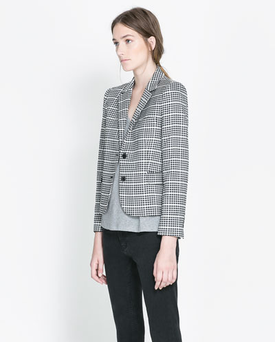 Two Tone Checked Jacket - pattern: checked/gingham; style: single breasted blazer; collar: standard lapel/rever collar; secondary colour: white; predominant colour: black; occasions: casual, work; length: standard; fit: straight cut (boxy); fibres: polyester/polyamide - mix; sleeve length: 3/4 length; sleeve style: standard; collar break: medium; pattern type: fabric; texture group: woven light midweight; trends: masculine feminine, monochrome; season: s/s 2013