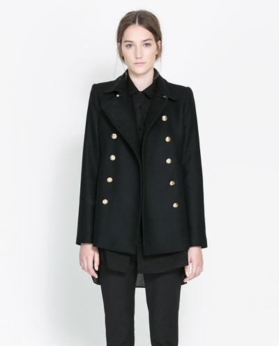 Coat With Metallic Button - pattern: plain; length: below the bottom; style: pea coat; collar: standard lapel/rever collar; predominant colour: navy; occasions: casual, evening, work; fit: straight cut (boxy); fibres: wool - mix; sleeve length: long sleeve; sleeve style: standard; collar break: medium; pattern type: fabric; texture group: woven light midweight; trends: masculine feminine; season: s/s 2013