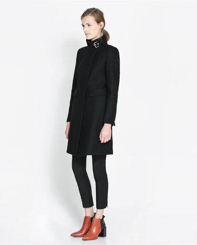 Zip Up Coat - pattern: plain; collar: funnel; style: single breasted; length: mid thigh; predominant colour: black; occasions: casual, work; fit: tailored/fitted; fibres: wool - mix; sleeve length: long sleeve; sleeve style: standard; collar break: high; pattern type: fabric; texture group: woven light midweight; trends: masculine feminine; season: s/s 2013