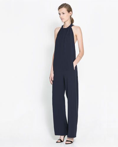 Backless Jumpsuit - length: standard; fit: loose; pattern: plain; sleeve style: sleeveless; neckline: low halter neck; back detail: back revealing; predominant colour: navy; occasions: evening; fibres: polyester/polyamide - 100%; sleeve length: sleeveless; texture group: crepes; style: jumpsuit; pattern type: fabric; season: s/s 2013; wardrobe: event