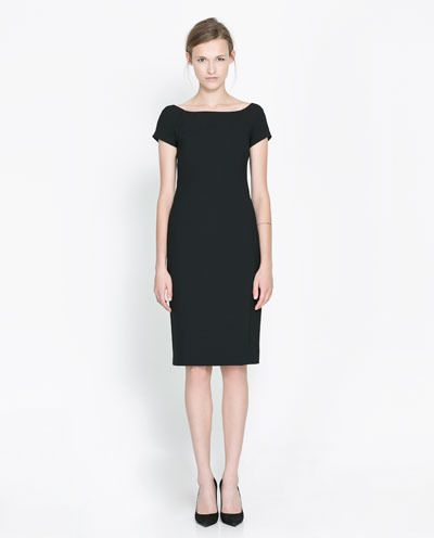 Boat Neck Dress - style: shift; neckline: slash/boat neckline; fit: tailored/fitted; pattern: plain; predominant colour: black; occasions: evening, work, occasion; length: on the knee; fibres: polyester/polyamide - stretch; sleeve length: short sleeve; sleeve style: standard; pattern type: fabric; texture group: other - light to midweight; trends: 1940's hitchcock heroines; season: s/s 2013