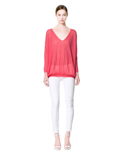 V Neck Sweater - neckline: low v-neck; pattern: plain; length: below the bottom; style: standard; predominant colour: pink; occasions: casual; fit: loose; sleeve length: long sleeve; sleeve style: standard; texture group: knits/crochet; pattern type: knitted - fine stitch; fibres: viscose/rayon - mix; season: s/s 2013